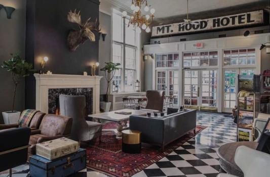 Mt Hood Hotel historic lobby